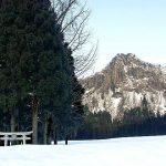 雪に埋もれた麓から聳える、竜馬山